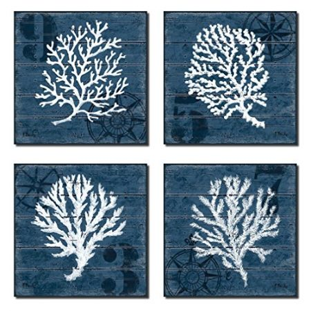 4-Indigo-Blue-Coral-Nautical-Signs-on-a-Wood-Print-Background-0-450x450 The Best Wooden Beach Signs You Can Buy