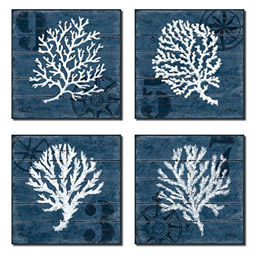 4 Indigo Blue Coral Nautical Signs On A Wood Print Background 0