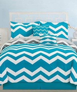 6-Piece-Chevron-Teal-Comforter-Set-0-300x360 200+ Coastal Bedding Sets and Beach Bedding Sets