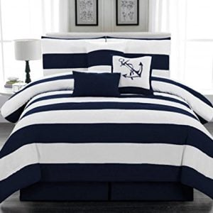 7pc Microfiber Nautical Themed Comforter Set Navy Blue And White Striped Full Queen And King Sizes 0 300x300