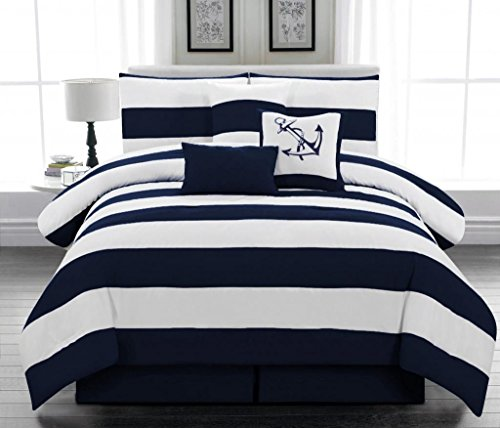 7pc Microfiber Nautical Themed Comforter Set Navy Blue And White Striped Full Queen And King Sizes 0