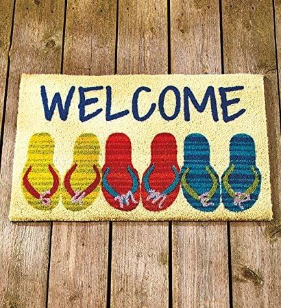 Beach-Coastal-Nautical-Theme-Welcome-Door-Mat-Rug-Front-Coir-Doormat-0-410x450 Beach Doormats and Coastal Doormats