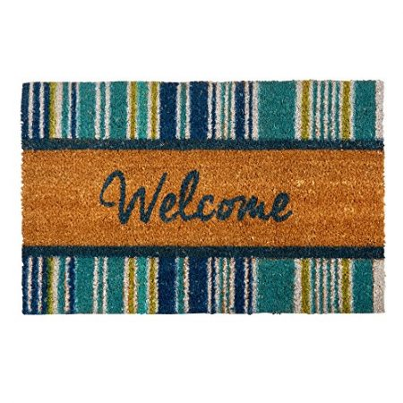 Blue-Striped-Welcome-Coir-Doormat-18-x-28-0-450x450 Beach Doormats and Coastal Doormats