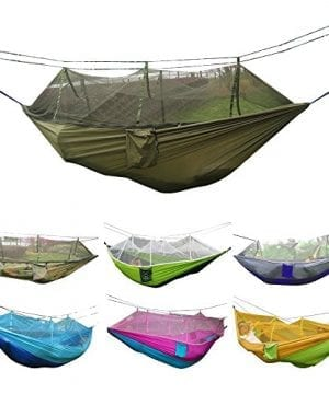Camping-Hammock-Rusee-Mosquito-Net-Outdoor-Hammock-Travel-Bed-Lightweight-Parachute-Fabric-Double-Hammock-For-Indoor-Camping-Hiking-Backpacking-Backyard-0-300x360 100+ Best Outdoor Hammocks For 2020