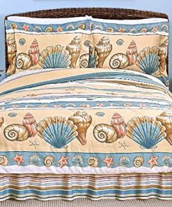 Coastal-Shoreline-BEIGE-SEASHELL-COMFORTER-SET-3-or-4-PiecesBeach-House-Living-0-247x296 Best Starfish Bedding and Quilt Sets