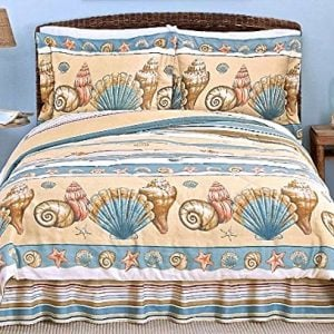 Coastal Shoreline BEIGE SEASHELL COMFORTER SET 3 Or 4 PiecesBeach House Living 0 300x300