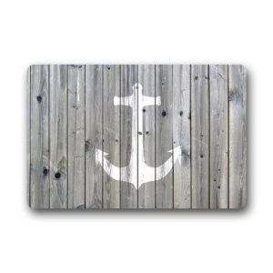 DailyLifeDepot Generic Machine Clean Top Fabric Non Slip Rubber Backing Durable Indoor Outdoor Doormat Door Mats Retro Gray Wood Pattern Anchor Print Design 0 300x300