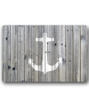 DailyLifeDepot Generic Machine Clean Top Fabric Non Slip Rubber Backing Durable Indoor Outdoor Doormat Door Mats Retro Gray Wood Pattern Anchor Print Design 0 300x360