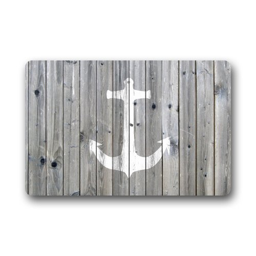 DailyLifeDepot Generic Machine Clean Top Fabric Non Slip Rubber Backing Durable Indoor Outdoor Doormat Door Mats Retro Gray Wood Pattern Anchor Print Design 0