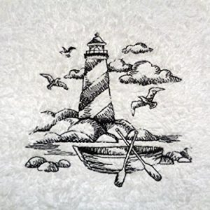 Embroidered Lighthouse Black On White Towel Shoreline Beach Nautical Themed Bath Hand Towels 0 300x300