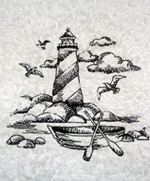Embroidered Lighthouse Black On White Towel Shoreline Beach Nautical Themed Bath Hand Towels 0 300x360