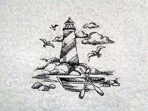Embroidered Lighthouse Black On White Towel Shoreline Beach Nautical Themed Bath Hand Towels 0