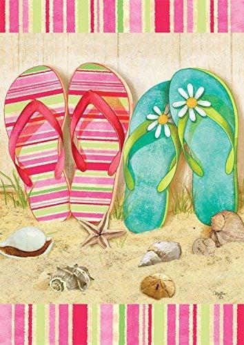 Flip Flop Summer Garden Flag Seashells