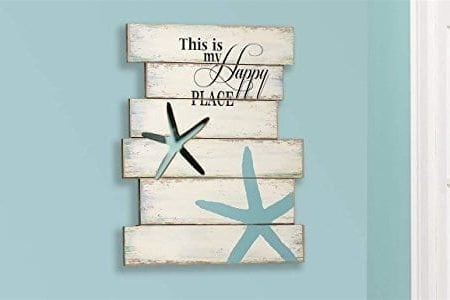 Giftcraft-19-Starfish-and-Beach-Sign-with-This-is-My-Happy-Place-Quote-0-450x300 Wooden Beach Signs and Coastal Wood Signs