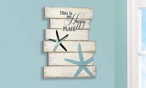 Giftcraft-19-Starfish-and-Beach-Sign-with-This-is-My-Happy-Place-Quote-0 The Best Wooden Beach Signs You Can Buy