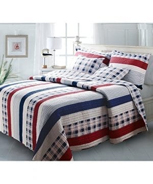 Greenland-Home-Fashions-Nautical-Stripes-Quilt-Set-0-300x360 200+ Coastal Bedding Sets and Beach Bedding Sets