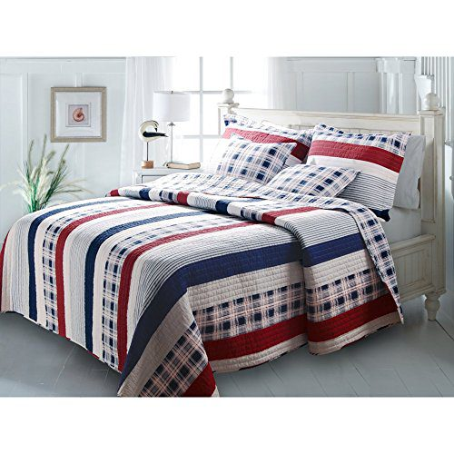 Greenland Home Fashions Nautical Stripes Quilt Set 0