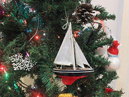 Hampton Nautical American Sailboat Christmas Tree Ornament 9 Decorative Model Boat Nautical Christmas Tree Decoration 0 0