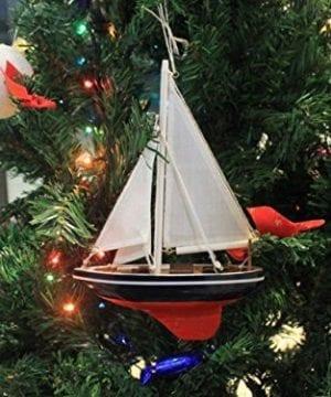 Hampton Nautical American Sailboat Christmas Tree Ornament 9 Decorative Model Boat Nautical Christmas Tree Decoration 0 1 300x360