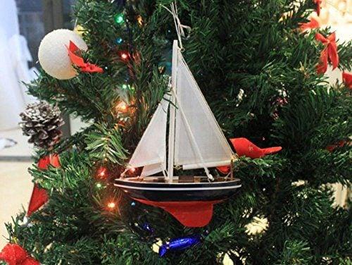 Hampton Nautical American Sailboat Christmas Tree Ornament 9 Decorative Model Boat Nautical Christmas Tree Decoration 0 1
