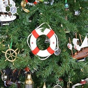 Hampton Nautical White Lifering With Red Bands Christmas Tree Ornament 6 Nautical Christmas Tree Decoration 0 0 300x300
