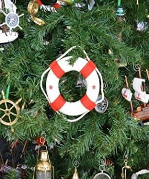 Hampton Nautical White Lifering With Red Bands Christmas Tree Ornament 6 Nautical Christmas Tree Decoration 0 0 300x360