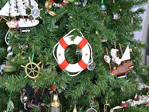 Hampton Nautical White Lifering With Red Bands Christmas Tree Ornament 6 Nautical Christmas Tree Decoration 0 0