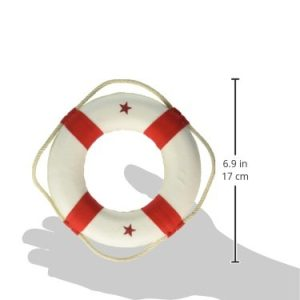Hampton Nautical White Lifering With Red Bands Christmas Tree Ornament 6 Nautical Christmas Tree Decoration 0 1 300x300
