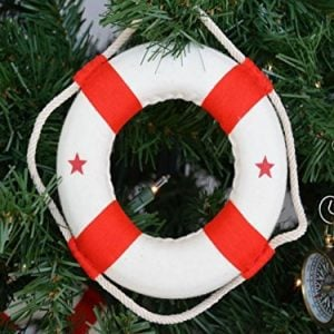 Hampton Nautical White Lifering With Red Bands Christmas Tree Ornament 6 Nautical Christmas Tree Decoration 0 300x300