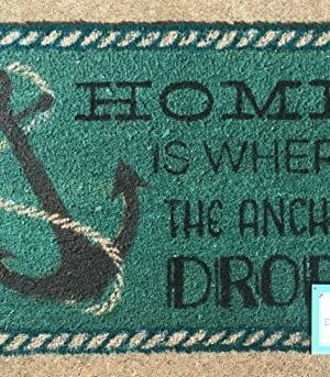 Home-is-Where-the-Anchor-Drops-Coir-Doormat-18-x-28-0-300x343 100+ Nautical Anchor Decorations and Decor