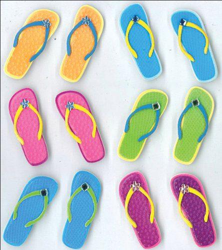 Jolees Boutique Cabochons Dimensional Stickers Flip Flops 0