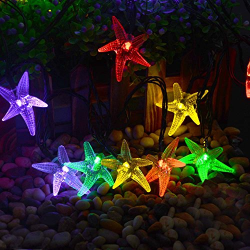 LUCKLED Original Starfish Solar String Lights 20ft 30 LED Fairy Christmas Lights Decorative Lighting For IndoorOutdoor Garden Home Patio Lawn Party And Holiday DecorationsMulti Color 0 0