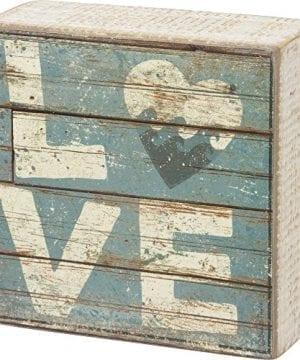 Love Aqua Marine Mini Beach Plankboard Print Sign With Heart 4 In 0 300x360
