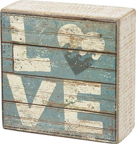 Love Aqua Marine Mini Beach Plankboard Print Sign With Heart 4 In 0