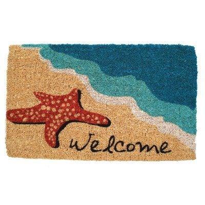 Mid Thickness Coir Starfish Welcome Outdoor Rectangular Doormat 0