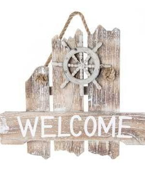 Nautical-Welcome-Wood-Wall-Plaque-0-300x350 100+ Wooden Beach Signs & Wooden Coastal Signs