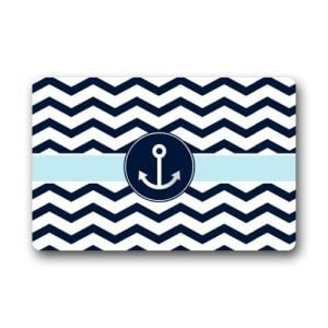 Non Slip Rectangle Navy Blue And White Chevron With Nautical Anchor Design Indoor And Outdoor Entrance Floor Mat Doormat 236L X 157W 316 Thickness 0 300x300