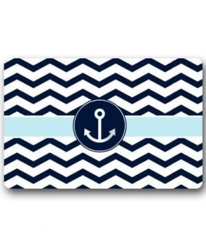 Non Slip Rectangle Navy Blue And White Chevron With Nautical Anchor Design Indoor And Outdoor Entrance Floor Mat Doormat 236L X 157W 316 Thickness 0 300x360