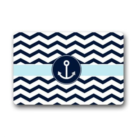 Non-Slip-Rectangle-Navy-Blue-and-White-Chevron-with-Nautical-Anchor-Design-Indoor-and-Outdoor-Entrance-Floor-Mat-Doormat-236L-x-157W-316-Thickness-0-450x450 Beach Doormats and Coastal Doormats