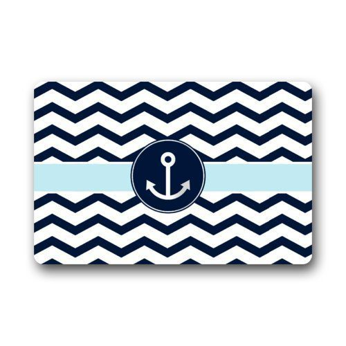 Non Slip Rectangle Navy Blue And White Chevron With Nautical Anchor Design Indoor And Outdoor Entrance Floor Mat Doormat 236L X 157W 316 Thickness 0