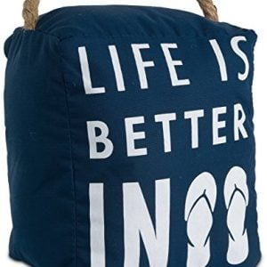 Pavilion Gift Company Open Door Decor Life Is Better In Flip Flops Beach Decor Navy Blue Door Stopper With Handle 0 300x300