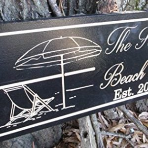 Personalized Beach House Sign Custom Carved Wood Sign Beach Umbrella 0 0 300x300