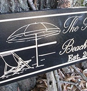 Personalized Beach House Sign Custom Carved Wood Sign Beach Umbrella 0 0 300x314