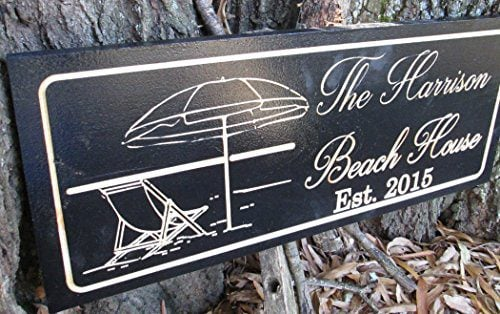Personalized Beach House Sign Custom Carved Wood Sign Beach Umbrella 0 0