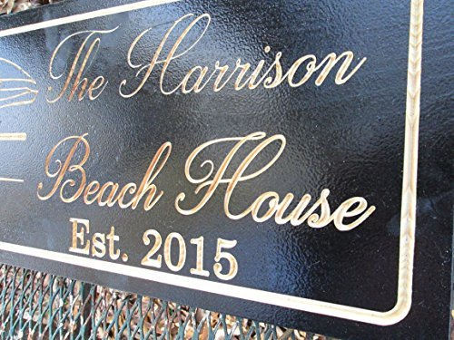 Personalized Beach House Sign Custom Carved Wood Sign Beach Umbrella 0 1
