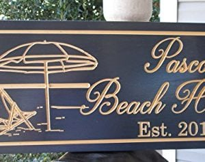 Personalized Beach House Sign Custom Carved Wood Sign Beach Umbrella 0 2 300x237