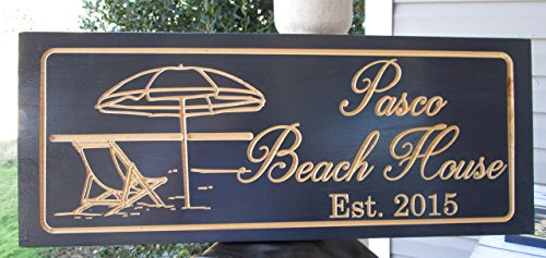 Personalized Beach House Sign Custom Carved Wood Sign Beach Umbrella 0 2