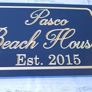 Personalized Beach House Sign Custom Carved Wood Sign Beach Umbrella 0 3 300x300