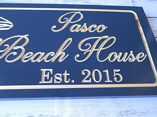 Personalized Beach House Sign Custom Carved Wood Sign Beach Umbrella 0 3