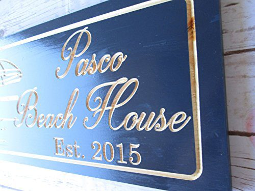 Personalized Beach House Sign Custom Carved Wood Sign Beach Umbrella 0 4